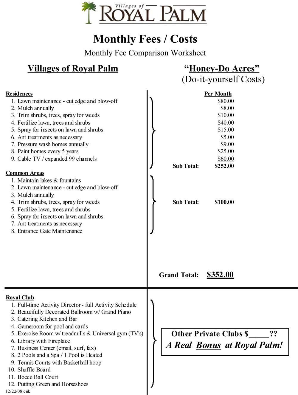 fees at villages of royal palm port orange